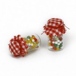 1/12 pár Dollhouse miniatűr üvegpalack kekszkanna Pasztell édes V9V3