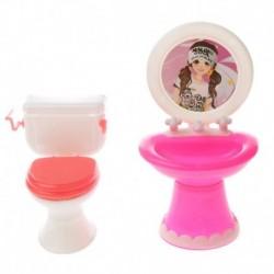 2db / készlet Dolls Mini fürdőszobai készlet műanyag WC-mosdó a Barbie Dolls I1S0 számára