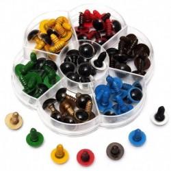 70 db műanyag biztonsági szem a barkács játékokhoz, vegyes színű - 10 mm M3M5