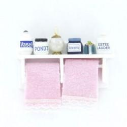 1/12 Dollhouse miniatűr fa fürdőszoba falra szerelhető fehér J4W8