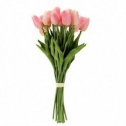 20PCS mesterséges tulipán virág egy hosszú szárú csokor Real Touch Beautifu E3R9