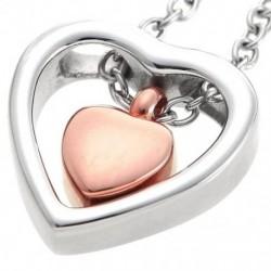 Kettős szív rózsa arany hamvasztás Urna nyaklánc medál tölcsér kitöltő készlet E2E2 tartja