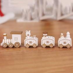 fehér - 1db aranyos medve fa karácsonyi vonat dísztárgy dekorációs dekorációs ajándék Y1P9