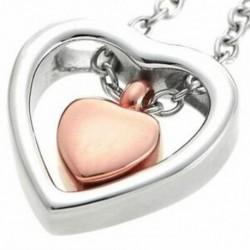 2X (kettős szív rózsa arany hamvasztás Urn nyaklánc medál tölcsér kit kit Ke R4L9