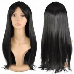 Fekete 48 CM stílusos női hosszú, egyenes paróka ruha Cosplay jelmez party Wi Y CQ