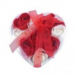Piros fehér - 1X (9db illatos rózsa virágszirom fürdőfürdő test szappan esküvői ajándék I1N6)
