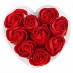 Piros - 1X (9db illatos rózsa virágszirom fürdőfürdő test szappan esküvői ajándék I1N6)