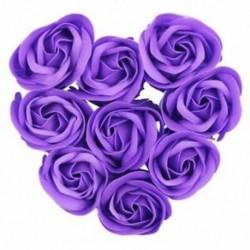 Lila - 1X (9db illatos rózsa virágszirom fürdőfürdő test szappan esküvői ajándék I1N6)