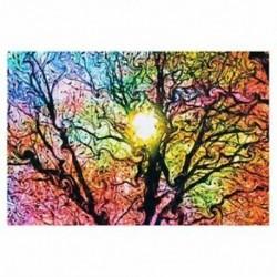 Pszichedelikus trippi fa absztrakt nap művészet selyem ruhával poszter lakberendezés 50cmx W1C5