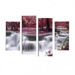 4 panelkészlet Gyönyörű vízesés tájképfestmény virágok modern képekkel F5T7