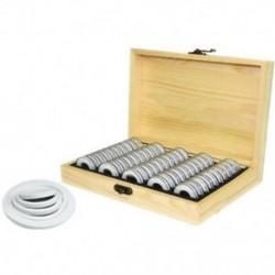 1X (50 érmetartó doboz kerek érmetároló fa dobozban emlékérme CS6E3)