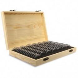 1X (100db / Dobozos fa érmetartó dobozok, kerek dobozban tartó ház, StoraJ6I6)