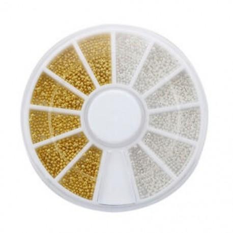 300 pc köröm művészet arany ezüst gömbös gyöngyök tippek dekoráció   kerék divat A9J5 Q3C5