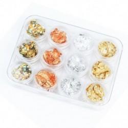 12 doboz arany ezüst réz szivárványfólia Paillette Chip Nail Art Design Dekoráció F8W0