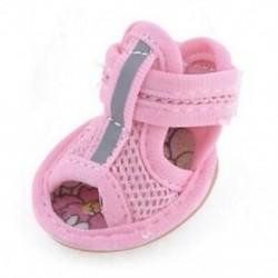 2 pár gumi talp rózsaszín hálószandál Yorkie Chihuaha kutyacipő, méret 1 G9D1