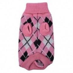 Kisállat jumper kötött pulóver ruházat kötött ruházat kabát meleg jelmez ruházat rózsaszín P2L2