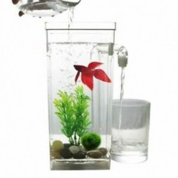 LED Mini Haltartály-akvárium Öntisztító haltartály-tál Kényelmes asztal Aq Y1Q9