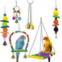2X (6 darabos madárhintás játékok - papagáj függőágy harangjátékok Budgie, Papagájok számára, Co D2K1)