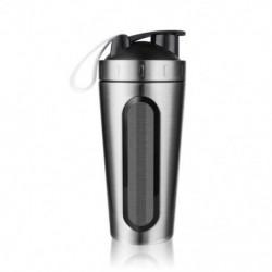 Ezüst - Fehérjetartó üveg, rozsdamentes acélból készült sportvíz-palack-shaker-kupa, szivárgás P5P6