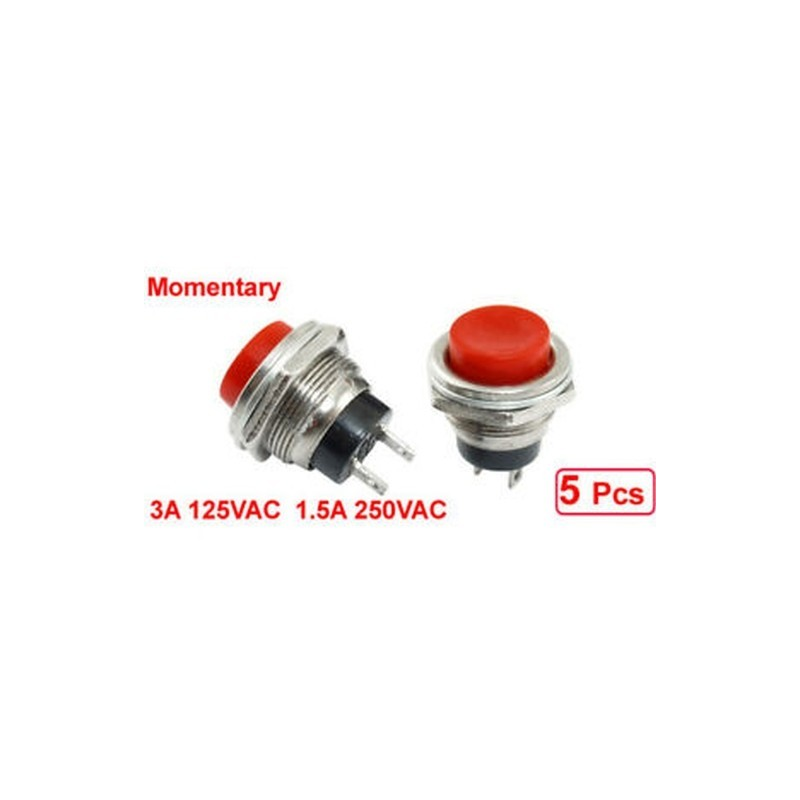 20x 5 pcs SPST Red Round Momentary Push Button Switch 3A 125V 1.5A 250VAC D7F5