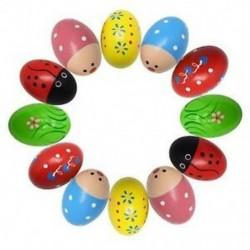 2X (12db rázó tojás fa tojásrázók) ütőhangszerek Zenés Maracas tojásjátékok N4J6