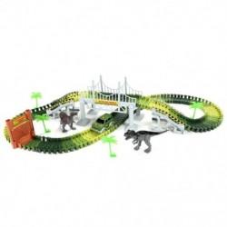 153csomagolt gyerek DIY összeszerelés Jurassic dinoszaurusz versenypálya autó játékkorlát Blo M0C4