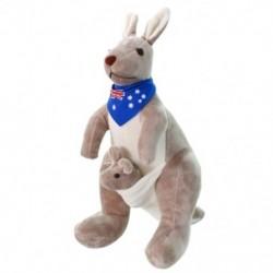 Édes kenguru töltött állati puha plüss babajátékok baba gyerekeknek (kék) G8H7