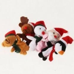 RHX 5db-os vegyes szép karácsonyi állati ujjbábok Új rajzfilm Baby Soft A5F8
