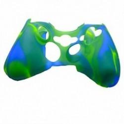 Camo kék-zöld szilikon védőfedél az Xbox 360 vezérlőhöz, W5V4 R7S8