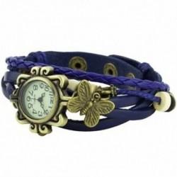 Női műbőr karkötő pillangó dekoráció kvarc karóra kék H8C4
