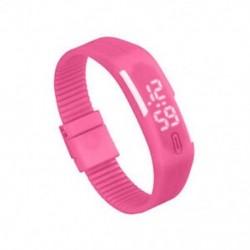 Rózsaszín - 1X (sportszilikon gumi fehér LED digitális karóra karkötő férfi nők kék L3G9)