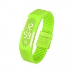 Zöld - 1X (sportszilikon gumi fehér LED digitális karóra karkötő férfi nők kék L3G9)
