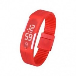 Piros - 1X (sportszilikon gumi fehér LED digitális karóra karkötő férfi nők kék L3G9)