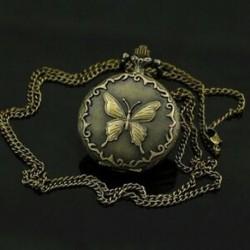1X (dekoratív bronz zsebóra pillangó motívummal és lánccal D1W2)