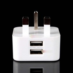UK Plug Dual USB port fali töltő adapter iPhone Samsung Galaxy S4 Note 2 3