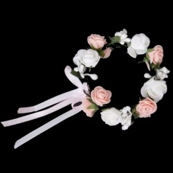 Fehér és rózsaszín kétrétegű rózsa virág koszorú menyasszonyi esküvői karkötő Wri Q5T9