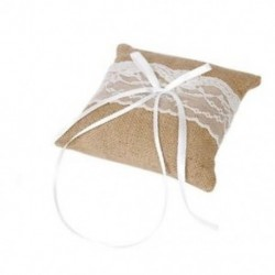 Esküvői zseb párna gyűrű párna vállvászon vászon rusztikus csipke stílusú 15 x 15cm X1A7