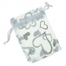 100 db szív fehér Organza esküvői ajándék táskák ékszer tasakok 7x9cm J3V4 V0D3