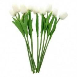 10 db fehér tulipán virág latex valódi tapintású esküvői csokorra KC456 E4L1