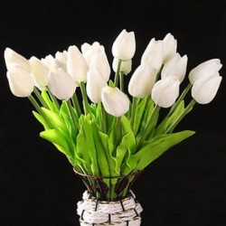 10 db fehér tulipán virág latex KC456 esküvői csokorhoz - fehér B4M7