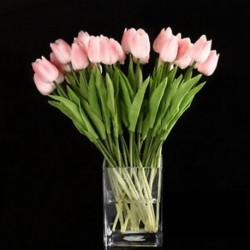 10db tulipán virág latex esküvői csokor dekorációhoz (rózsaszín tulipán) SH V6Y8 P5W O4W7