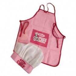 Childs Kids Chef Hat kötény Főzés Sütés Boy Girl Chef Junior Ajándék (Rózsaszín) P5X7