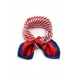 1X (Poliészter 20 &quot -es kendő nyakkendő sál női-piros-kék csíkokkal U3L9)