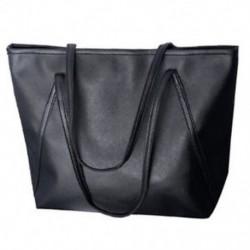 Női bőr táska válltáska bőr kézitáska nagy cipzárral (fekete) G3K W2O5