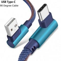 1x 2M C típusú 90 fokos derékszögű USB C 3.1 Gyors adat szinkronizálás töltő kábel