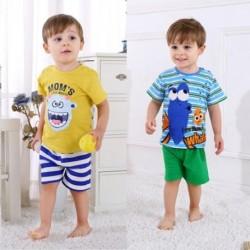 2 db-os szett újszülött baba nyári póló és nadrág szett fiúk