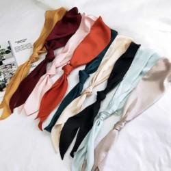 1x Női divatos szalag selyem sál gyönyörű egyszínű dizájn női nyakkendő hajdísz