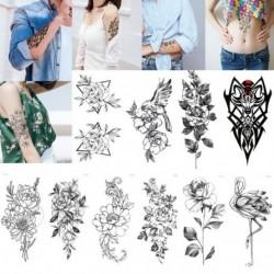 1x Fekete virág ideiglenes tetoválás matrica tetkó tattoo tesz dísz matrica
