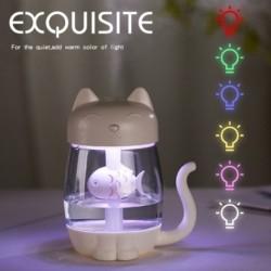 3 az egyben multifunkciós USB macska cica légnedvesítő ultrahangos hűvös párásító LED fény mini USB ventilátor