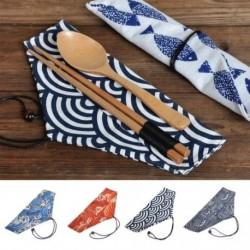 1x Újrahasznosítható fém zsák japán stílusú vászon étkészlet tasak kanál villával